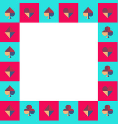 Card suit chess board blue sky and pink border vector