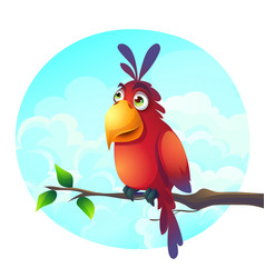 Cartoon a funny parrot on a vector