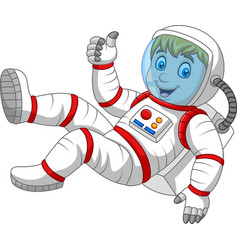 cartoon astronaut giving thumbs up vector image