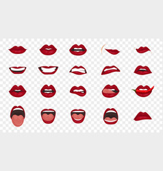 cartoon icons big set isolated cute mouth vector image