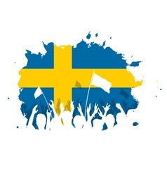 Celebrating Crowd with Sweden flag vector image