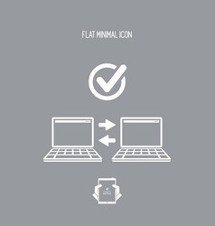 check computer data transfer - flat minimal icon vector image