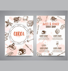 chocolate cacao sketch brochure design menu for vector image