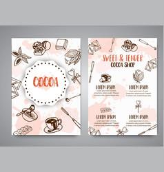 Chocolate cacao sketch brochure design menu for vector