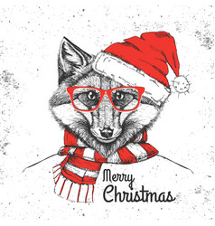 christmas hipster fashion animal fox vector image