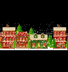 christmas vintage card with the urban landscape vector image