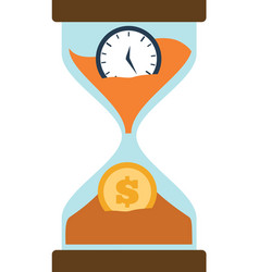clock glass sand business clock money vector image