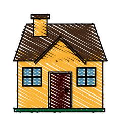 color crayon stripe cartoon facade confortable vector image
