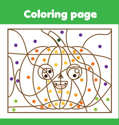 Coloring page with halloween pumpkin color by vector