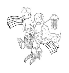 Couple mermaids with rainbow undersea vector