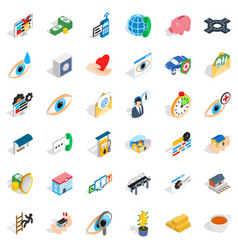 Cross in hospital icons set isometric style vector