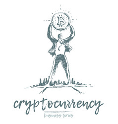 cryptocurrency earnings a man bitcoin drawn vector image
