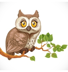 Cute owl sitting on a branch vector