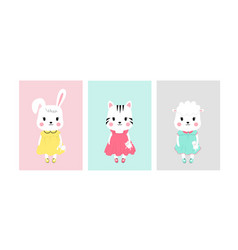 Cute posters with little rabbit lamb and cat vector