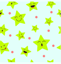 Cute star emoji seamless pattern background vector