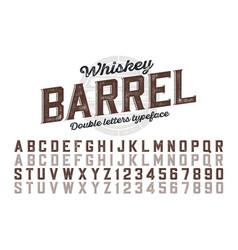 decorative vintage typeface double letters color vector image