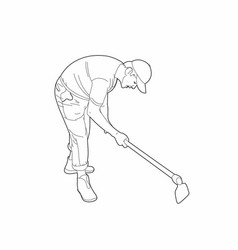 Drawing of a man with a spade vector