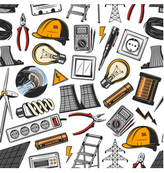 Electrical tools and power plant seamless pattern vector