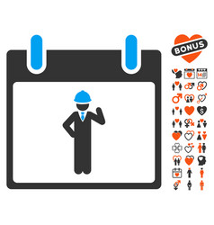 Engineer calendar day icon with lovely bonus vector