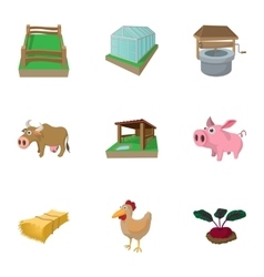 Farmyard icons set cartoon style vector