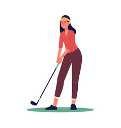 Female character with niblick playing golf flat vector
