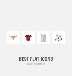 Flat icon clothes set of lingerie singlet foot vector