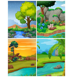 four forest scenes with rivers vector image