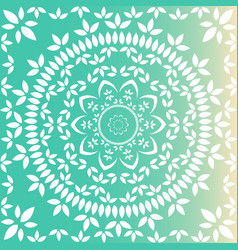Fresh green floral mandala vector