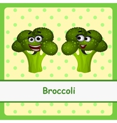 Funny brocoli character on yellow background vector