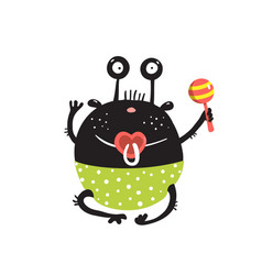 Funny round alien baby monster character sitting vector