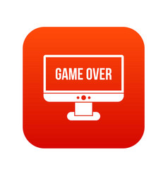 game over icon digital red vector image