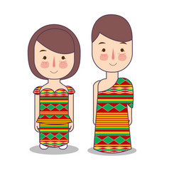 Ghana couple traditional national clothes vector