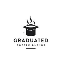 graduation hat and coffee mug logo icon template vector image