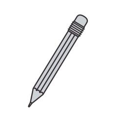 Gray silhouette pencil with eraser vector