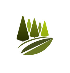 Green trees or eco nature forest icon vector