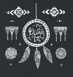 Hand drawn tribal patterns with stroke vector