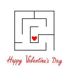 happy valentines day labyrinth maze red heart vector image