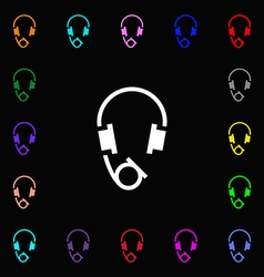 headsets icon sign Lots of colorful symbols for vector image