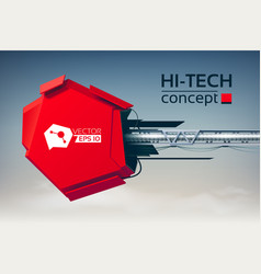 Hi-tech concept with 3d engineering construction vector