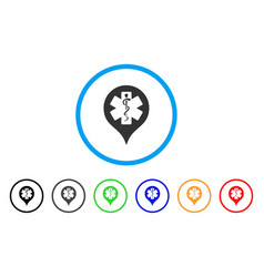 Hospital map marker rounded icon vector