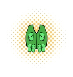Hunter vest icon comics style vector