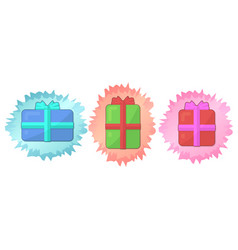 icon set for holidays with three gift boxes vector image