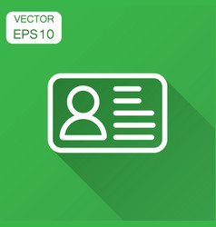 id card icon in flat style identity badge with vector image