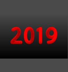 Inflated number red figures of 2019 new year vector