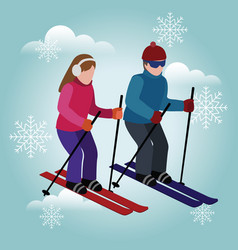 Isometric isolated man and woman skiing happy vector