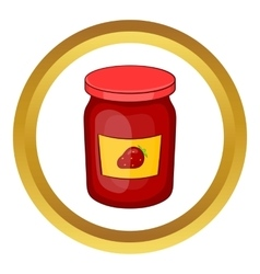 Jar of strawberry jam icon vector