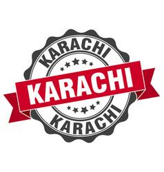 Karachi round ribbon seal vector