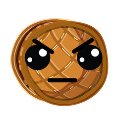 Kawaii cute angry waffles with honey vector