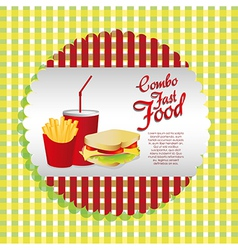 Labels fast food combo with a french fries soda an vector