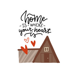 lettering poster - home is where your heart vector image